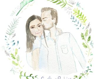 Custom Wedding Illustration, wedding portrait, Wedding invite ideas, watercolor invitation, custom wedding invite, tropical wedding ideas