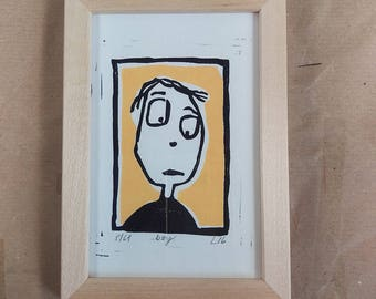 linocut print boy friend