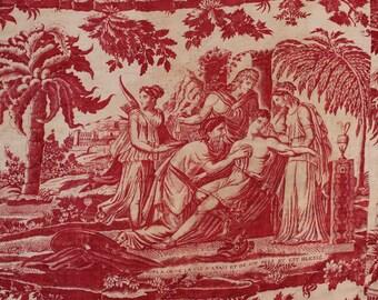 Antique French Toile de Jouy panel Roman scenes