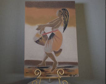 Sand Painting Vintage Dancing Woman