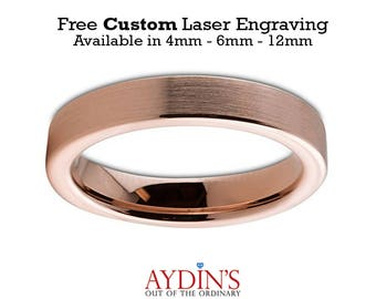 Mens and Womens Tungsten Wedding Band - 4mm Ring - 18K Rose Gold Tungsten - Pipe Cut Flat - Brushed and Polished - Man Wedding Band Tungsten
