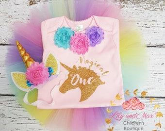 Unicorn Birthday Tutu Outfit, Unicorn headband, Unicorn Birthday tutu set, Unicorn girls top, Rainbow unicorn set, Unicorn Girls Costume