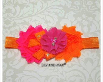 Hot pink and orange headband, hot pink and orange tones shabby flower elastic headband