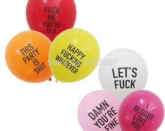 12pcs/lot abusive balloons funny rude Badass balloon Bachelorette Party Decorations Offensive Abusive Prank Collection
