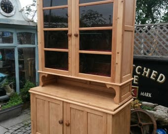 Stunningly beautiful antique pine house keeper's cupboard /kitchen cabinet  8ft high.