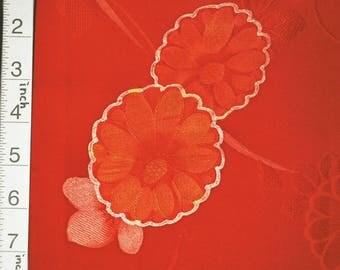 "13.6""w. x 45.6""l. Vintage kimono silk fabric Aurora Red flower 3024A"