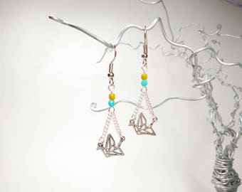 Silver Origami Crane Earrings - Mustard Yellow and turquoise