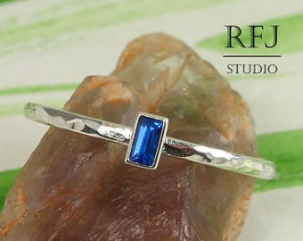 Dainty Baguette Cut Blue Sapphire Hammered Silver Ring, Rectangle September Gemstone Synthetic Lab Sapphire Promise Ring 3x1.5mm Blue Ring
