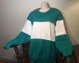 1990's Teal White sweatshirt 90s clothing 90s sweatshirt 90s windbreaker 90s fresh prince 90s stripped sweatshirt 90s fresh prince retro