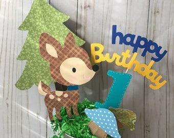 Fawn birthday centerpiece, jungle themed birthday party, safari themed birthday, deer 1st birthday centerpiece