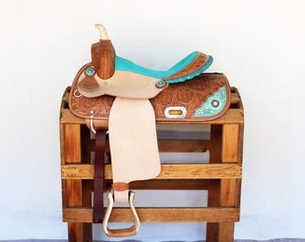 """youth 13"""" Turquoise Beaded Rough Out Floral Tooled Handmade Western Horse Pleasure Trail leather Saddle"""