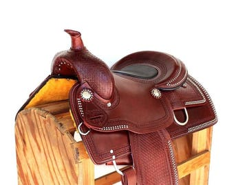 "Western Trail Horse 15"" Classic Barrel Rodeo Cutting Leather Show Saddle"