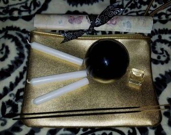 Crystal ball 80mm black gazing kit