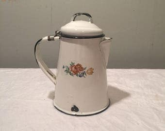 Vintage Enamelware Coffee Pot with Floral Graphics - French Country Style Enamelware
