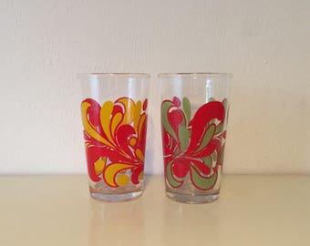 2 Flower power glasses Mud decor seventies glasses retro vintage glazen space age glass Italy