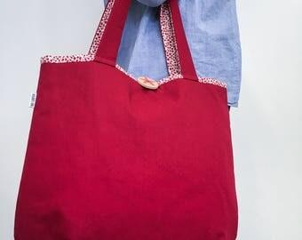 Tote bag red off white Leaf pattern shoulder bag with handprinted wooden button