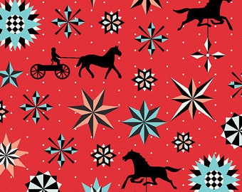 1 yard Star and Horse Red from Folk Art Fantasy from Amanda Murphy for Contempo fabrics