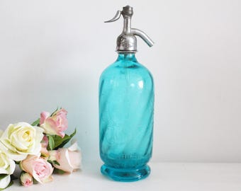 Vintage French Blue Seltzer Bottle - Glass Bottle - Soda Syphon