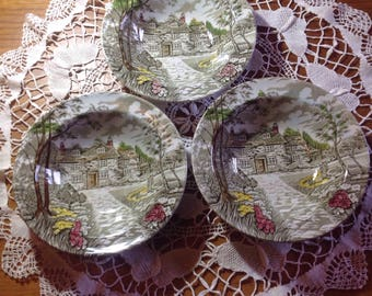"Three Vintage British Anchor ""Country Cottage "" dessert bowls"