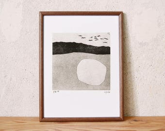 uncertain place 18 · original linocut on paper · handmade and signed · limited