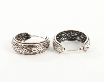Sterling Silver Wave Hooped Earrings