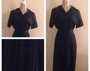 On Sale Gorgeous Navy Blue Ladies Vintage Dress