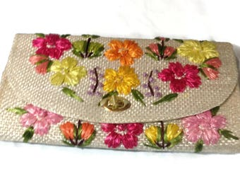 Beautiful Vintage Woven Clutch with Flowers