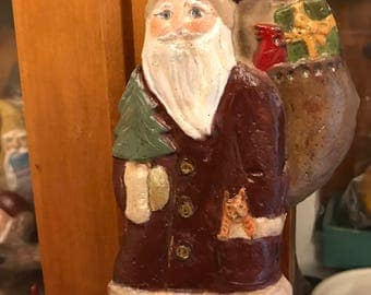 Salt Dough Santa with Cat