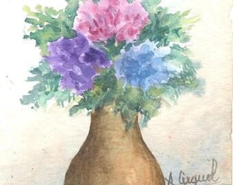 Small bouquet - original watercolor with passe partout