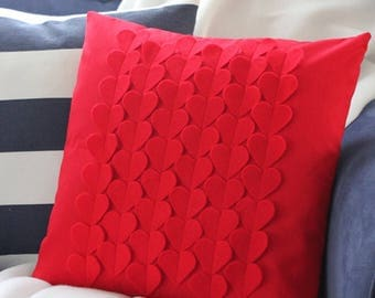 "Red Hearts 18""x18"" Pillow Cover"