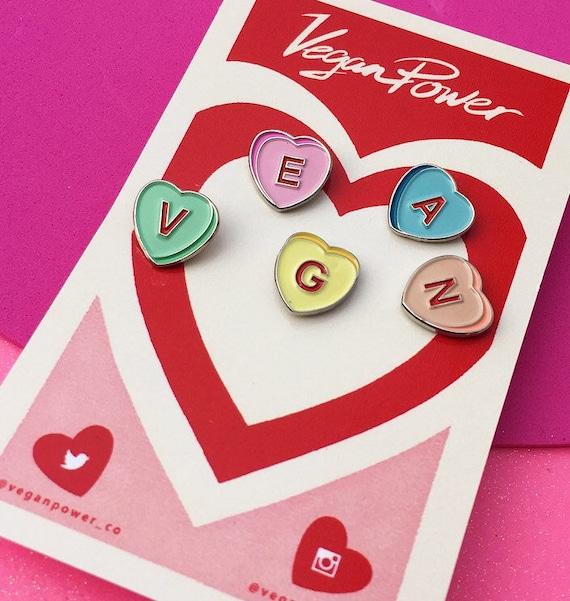 VEGAN CANDY HEARTS Pin Set Vegan Power Co Candy Heart Enamel