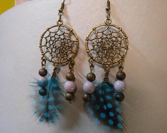 Dream catcher earrings & feather