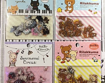 San-X sticker sack - kawaii sticker sack - sticker flakes - seal bits - Kutusita nyanko - Rilakkuma - Sentimental Circus