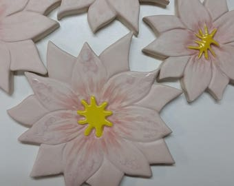 4 (2 large, 2 small) Pale pink ceramic lotus flowers for mosaics