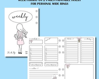 Personal Wide Rings Size: FOX&PIP Collaboration - Week on 2 Page Printable Insert for Personal Wide Ring Planner