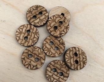 Knitting rib pattern buttons