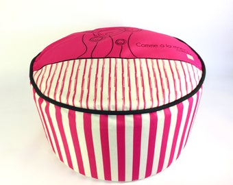 Pouf/rose/washable fabric and removable /tissu sturdy polyester and comfortable /decoration Interior/PR-04/sketch