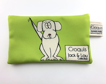 Green clutch / pouch with dog / pencil case / make-up bag / Tote / sketch fabric