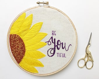 Sunflower embroidery hoop
