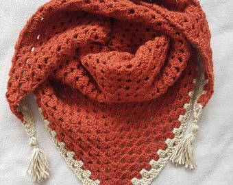 Crochet triangle scarf, ladies scarf, granny square, autumn scarf, accessories, gift for her, Brown scarf, ladies shawl, crochet shawl