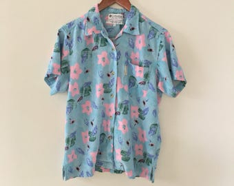 vintage late 90's-Y2K COLUMBIA hawaiian top// blue and pink floral button-up// size medium