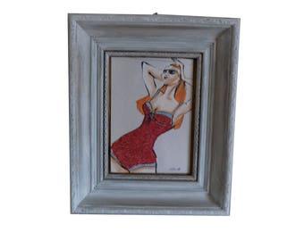 """Petit cadre gris, Cadre baroque, Figurine de mode, Maillot de bain, portrait femme """"La baigneuse Lauren"""""""