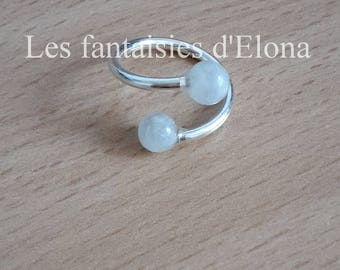 Ring in 925 Silver with gemstone - Moonstone beads.