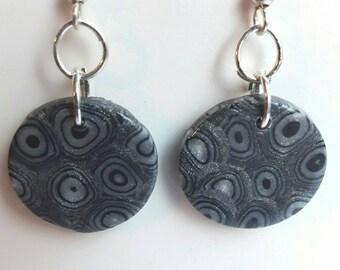 Earrings mosaic grey/black