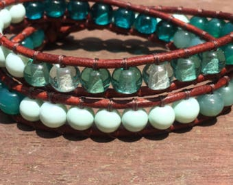 Beaded leather wrap bracelets with button clasps