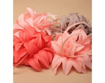 Layered fabric flower fascinator with feathers on a forked clip and brooch pin. In coral, peach, mocha, pink. Wedding, Holiday Fascinator