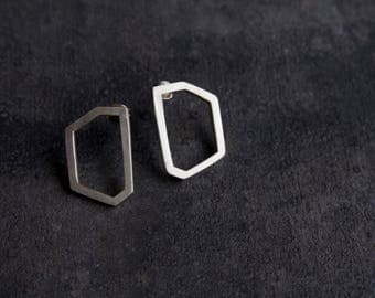 Bold Geometric Sterling Silver Studs / Earrings