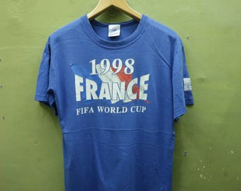 Vintage 1998 France Fifa World Cup Shirt Big Spell Out Sportswear Streetwear Top Tee T Shirt Size M