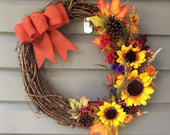 Fall Sunflower Wreath, Fall Wreath for Front Door, Door Wreath, Sunflower Wreath, Thanksgiving Wreath, Autumn Wreath, Fall Autumn Decor