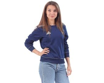 Vintage ADIDAS Sweatshirt 90s Track Top Navy Blue White 3 Stripe Old School Normcore Slouch 1980s Hip Hop Sport Women Men Hipster Medium